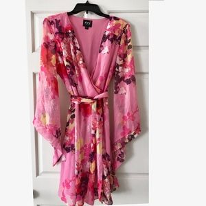 ECI Floral Flare Sleeve Faux Wrap Dress